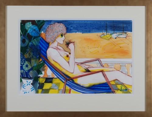Nude girl on deckchair