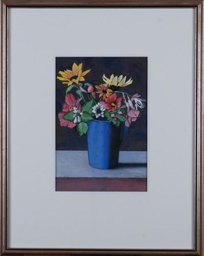 Blue Deichmann Pitcher with Summer Flowers